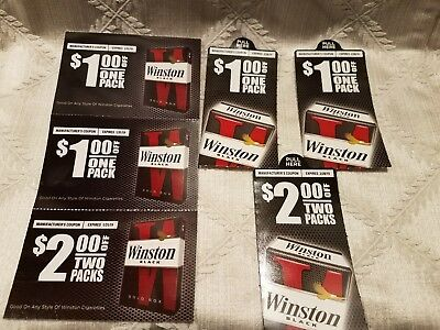 (6) Winston Cigarettes Coupons - $8 Total Savings - Expires 2019 - Tobacco