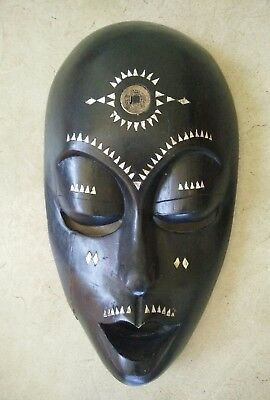 Vintage antique Wooden mask Tribal Hand Made Shell inlay Black wood