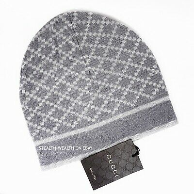 6a0eb02e2f5 Gucci Gray Diamante Print Winter Wool Ski Skull Cap Beanie Hat 281600