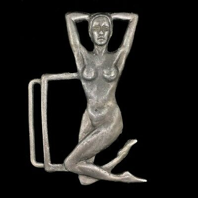 Vtg Nude Woman Feet Sculptural Portrait Art Artwork Antique 50s Belt Buckle
