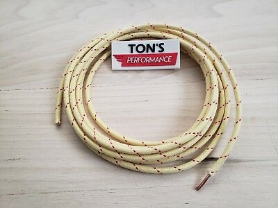 10 feet Vintage Braided Cloth Covered Primary Wire 12 GA gauge Yellow w/ 1 Red