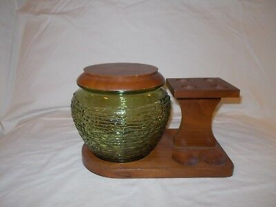 Vintage Fairfax Wood 4 Pipe Stand Holder  Humidor Clear Green Glass Tobacco Jar