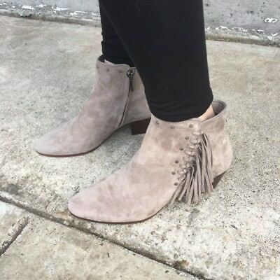 6496ff59697ca Sam Edelman Booties Rudie Fringe Ankle Boots Grey Putty Suede 7 7.5 11 12 13