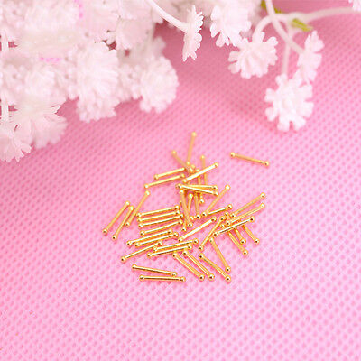 A Pair of Solid 999 24K Yellow Gold  Small Needle Design Stud Earrings 6mm