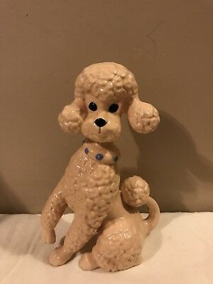 """Vintage Pink Sitting French Poodle Dog Figurine 10.5"""" Tall Great For Collection"""
