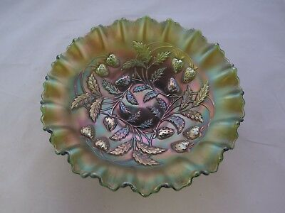 Vintage Signed Northwood Green Carnival Glass Bowl Strawberries Design~ Perfect!