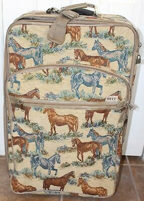 686c47251a5b Equestrian Vintage Horse Tapestry garment Rolling bag travel tote Luggage  BHT