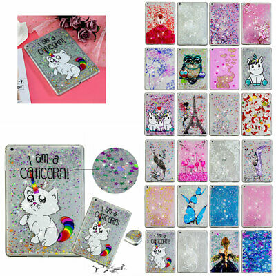 For iPad 9.7 2018 2017 Air 2 Bling Liquid Quicksand TPU Silicone Back Case Cover