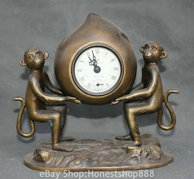 "8"" China Copper 2 Monkey Peach Mechanical Clocks And Watches Timepiece Statue"