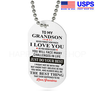 Grandma Grandson Dog Tag Birthday Gift For Just Do Your Best Chain