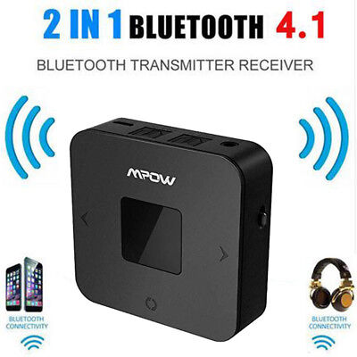 Mpow 2-in-1 Bluetooth V4.1 Transmitter Receiver Wireless 35mm Audio Adapter US