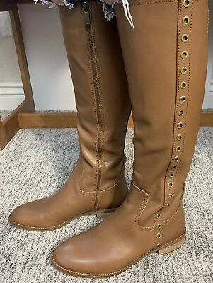 NEW Michael Kors Dora chestnut Tan Khaki Brown Leather Knee High Boots SZ 8.5