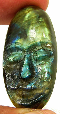 38.65 Ct Natural Labradorite Gemstone Hand Carved Face Faces Carving Cab - 10508