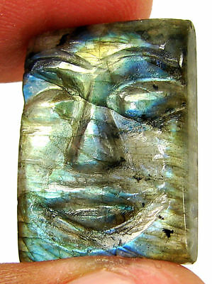 21.80 Ct Natural Labradorite Gemstone Hand Carved Face Faces Carving Cab - 10535