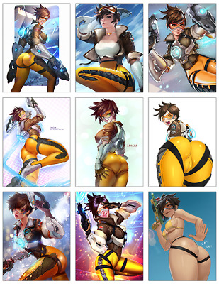 "OVERWATCH - Tracer 9-pc Stickers Set - 2.5""x3.25"" (PS4, XBOX, GAME, NOTEBOOK)"