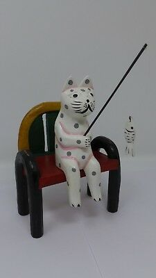 Indonesian / Balinese Handcrafted Wooden White Cat Sitting on a Bench Fishing