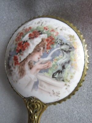 RARE Gorgeous Antique 1890 Art Nouveau Limoges Hand Painted Porcelain Mirror