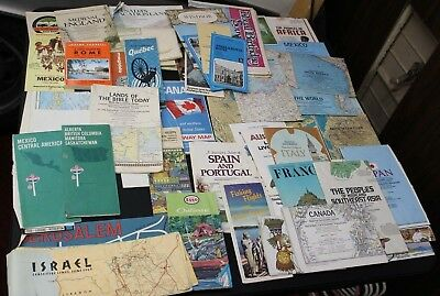 Lot of 55 pieces Vintage International Road Maps Tour Vacation Guides 1960s-up