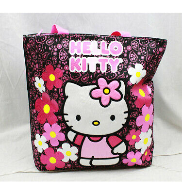 Tote Bag - Hello Kitty - Flowers Black  New Gifts Girls Hand Purse 82597
