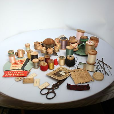 Lot of Antique 1920s Era Sewing Supplies Spools Holders Pin Cussion Scissors VTG