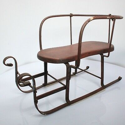 Antique Style 1800s Doll Sleigh Dark Wood with Iron Wire Riveted Frame Vintage