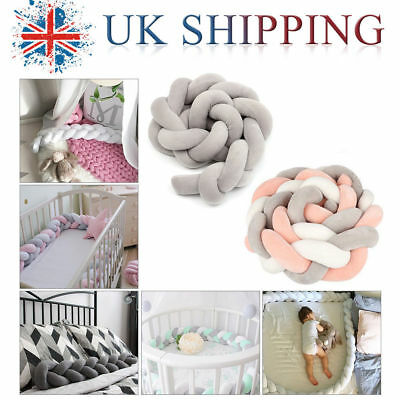 Baby Plush Cot Bumpers All Round Padded Cot Braid Pillow Pad Protector 200cm