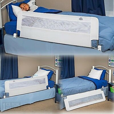 Extra Long Bed Rail Toddler Crib Safety Net Protection Swing Down Bed Side Board