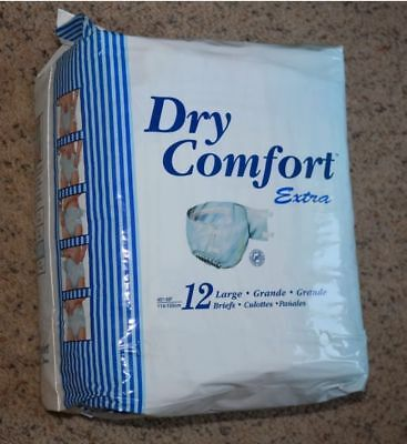 Adult Diapers Briefs Disposable LARGE pack of12. New Sealed Dry Comfort Vintage