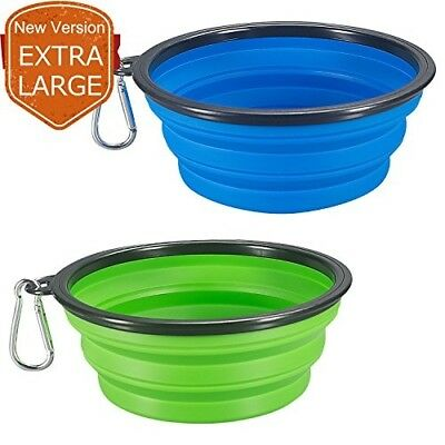 COMSUN 2-pack Extra Large Size Collapsible Dog Bowl, Food Grade Silicone BPA Fre