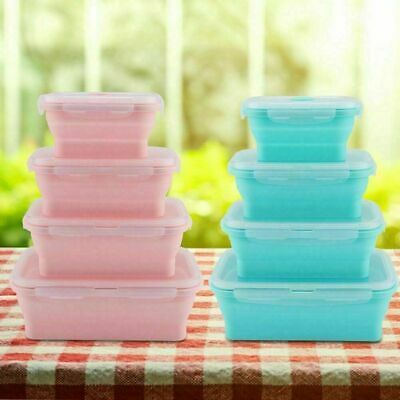 Silicone Collapsible Lunch Box Portable Folding Food Storage Container Safety