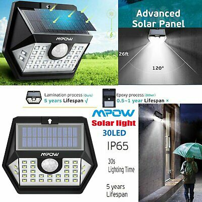 Mpow 30 LED Solar Powered Super Bright Motion Sensor IPX5 Outdoor Security Light