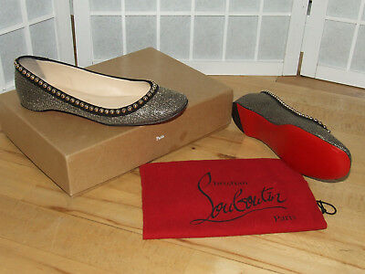 Authentic Christian Louboutin Rotapla Ballet Flats Metallic 39 US8.5 UK6 Rosella