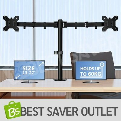 Dual Monitor Stand LED TV Bracket Computer LCD Screen Display Holder Desk Mount