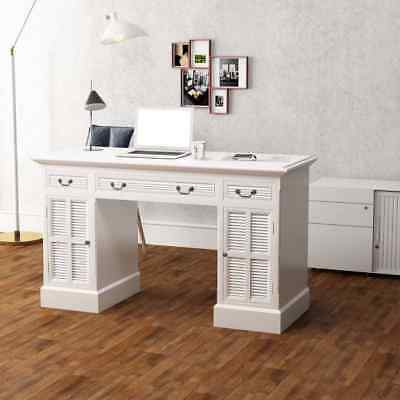 Computer Writing Desk Gaming PC Table Home Office Study Wooden Furniture White