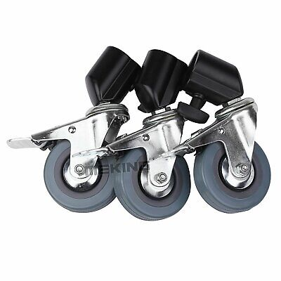3 × Heavy Duty Universal Rubber Caster Wheels for Light Stand Photography Studio