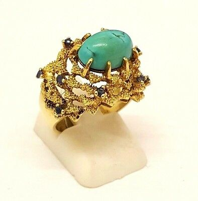 18Ct Solid Gold Turquoise And Sapphire Ladies Dress  Ring Fully Hallmarked