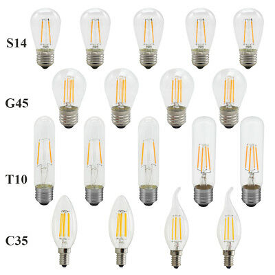 Dimmable E14 E27 2/4/6W LED Filament Light Candle Globe Bulb Warm White 220V 12V