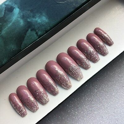Hand Painted False Nails Extra Long Coffin Rose Nude Glitter Tip Full Cover Tips
