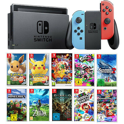 Nintendo Switch Konsole Top Spiele Neon Pokemon Zelda Mario Party NEU Neuware