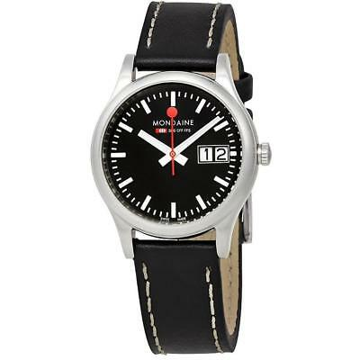 Mondaine Women's Soprt 33mm Black Leather Band Quartz Watch A669.30311.14SBB