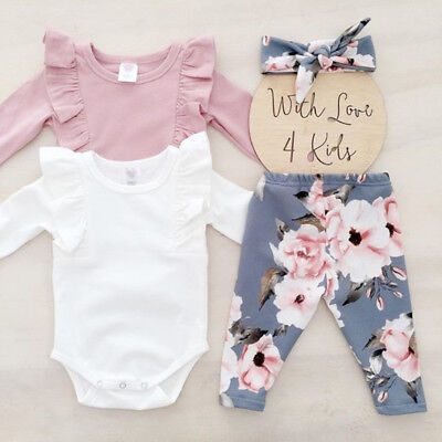 UK Stock Newborn Toddler Baby Girls Flower Top Romper Pants 3PCS Outfits Clothes