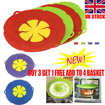 UK Silicone Anti Overflow Boil Pot Lid Spill Stopper Pan Cover Kitchen Cooking