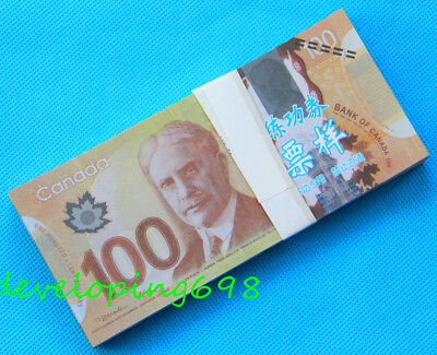 100Pcs Canada 100$ Play Prop Money Sided Life Size Full Print Double Sided Play