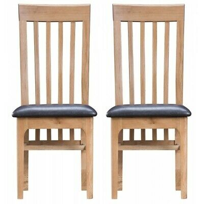 Bergen Oak Furniture PU Leather Slat Back Dining Chairs With Padded Seat PAIR