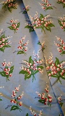 Unused vintage/retro 50's floral barkcloth fabric - 1M lengths 11.5M in total.