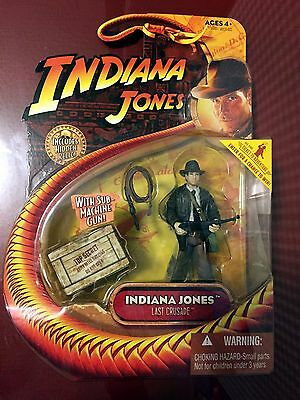 "2008 Indiana Jones ""Last Crusade"" INDIANA JONES w/SUB-MACHINE GUN  3 ¾"" MOC"