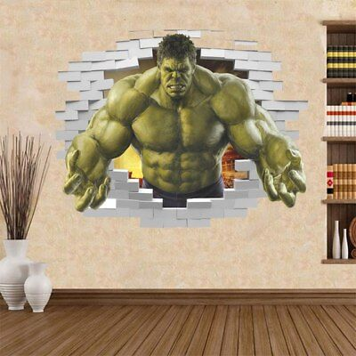 Violent Avengers Hulk Peel Through Wall Sticker For Kids Rooms Home Decor 3D