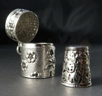 Vintage Metal or silver THIMBLE n BOX - Art Nouveau floral - China marked