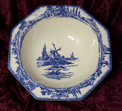 Antique Blue & White Royal Doulton Norfolk Pattern c1900s Serving Bowl / Tureen