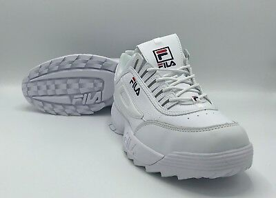 Fila Disruptor Ii Trainers White Leather Unisex Brand New 100% Authentic Uk 9.5